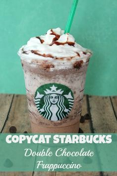 Copycat Starbucks Double Chocolate Frappuccino drink recipe - I'm not a huge latte fan so I like to make these DIY frappuccinos instead!