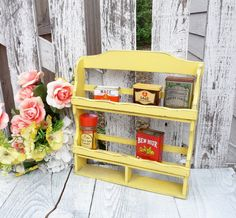 Yellow Spice Rack  SHABBY CHIC Painted Old Wood by HuckleberryVntg, $26.00