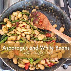 Asparagus and White Beans with Cilantro Pesto @danielleomar #cleaneats #glutenfree #vegetarian #dinner