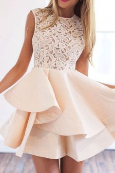 Shop With Zipper Blush Lace Insert Flare Apricot Dress online. SheIn offers With Zipper Blush Lace Insert Flare Apricot Dress & more to fit your fashionable needs. Prom Dresses 2018, Cute Prom Dresses, Dresses Short, Prom Dresses With Sleeves, Dance Dresses, Pretty Dresses, Beautiful Dresses, Summer Dresses, Dress Prom