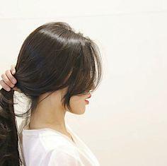 Korean Hairstyle Long, Korean Hairstyles Women, Modern Hairstyles, Long Hair With Bangs, Haircuts With Bangs, Hair Inspo, Hair Inspiration, Peinados Pin Up, Emo Hair