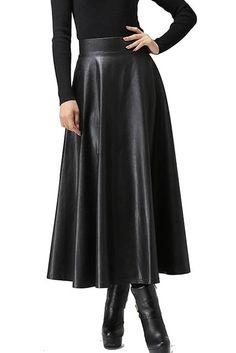 Zeagoo Women Winter Synthetic Leather High Waist Pleated Midi Flare Skirt Type 1 X-Large