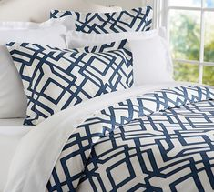 ONE - Shelby Geo Duvet in Ivory/Navy ($95.20), Queen & TWO - Shelby Geo Euro Shams in Ivory/Navy ($37.60 each)