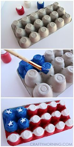 Egg Carton American Flag Craft for Kids (Fun art project for Memorial Day or the of July! Egg Carton American Flag Craft for Kids (Fun art project for Memorial Day or the of July! Daycare Crafts, Toddler Crafts, Preschool Crafts, Crafts For Kids, Arts And Crafts, Patriotic Crafts, July Crafts, Summer Crafts, Holiday Crafts