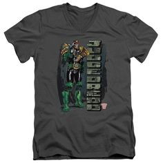 JUDGE DREDD/BLAM - S/S ADULT V-NECK - CHARCOAL -