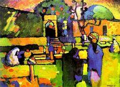 "Wassily Kandinsky ""Arabs I (Cemetery)"" 1909  Kunsthalle Hamburg, Germany 71.5 x 98 cm"