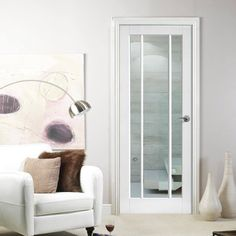 Lincoln White Primed 3 Pane Door with Clear Safety Glass - Lifestyle Image Glazed Fire Doors, Internal Glazed Doors, White Internal Doors, Internal Door Handles, Panel Doors, Windows And Doors, Traditional Front Doors, Primed Doors, Door Fittings