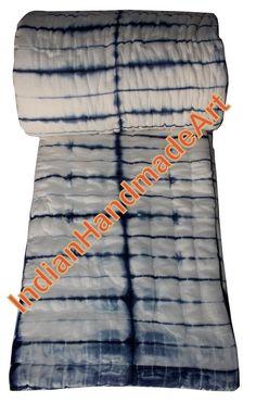 "Handmade Exclusive Jaipuri Razai Shibori Print Cotton Filling Quilt 90x108"" #HandMade #AntiqueStyle"