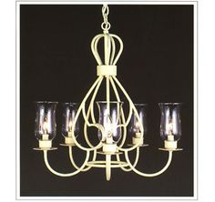 """7000  FIVE LIGHT IRON CHANDELIER FINISH SHOWN: ANTIQUE WHITE SHADE: HURRICANE GLASS AVAILABLE WITH 3 X 6 X 4 SHADES WITH WHITE F WAX CANDLES MAXIMUM WATTAGE: 300 CANDELABRA BASE SOCKETS  HT 24"""" W 24"""""""