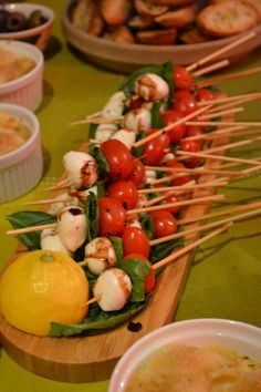Caprece salad skewers with balsamic reduction from tapas party.