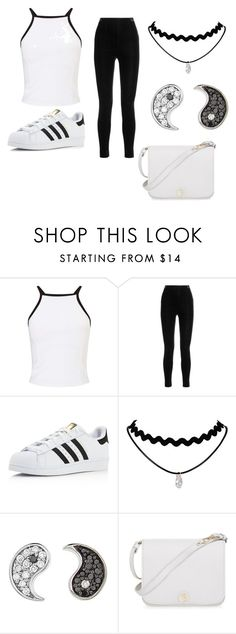 """""""black and white"""" by imcoolyournot ❤ liked on Polyvore featuring Miss Selfridge, Balmain, adidas, Sydney Evan and Furla"""