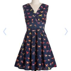Navy multicolored Sugarhill horse dress EUC, cotton. This dress is discontinued! ModCloth Dresses