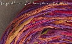 Yarn: 200 yards Tropical Punch cotton silk light worsted, dk, Life's an Expedition red purple pink magenta olive green apricot. $15.00, via Etsy.
