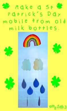St Patricks Day Rainbow Mobile - free printable template. Made from upcycled plastic milk bottles.