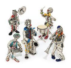 A set of five Italian silver and enamel clown musicians, Sorini, Arezzo, circa 1970