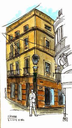 Urban Sketchers Spain. El mundo dibujo a dibujo.: GADITANO Y FENICIO, ENCUENTRA LAS 7 DIFERENCIAS