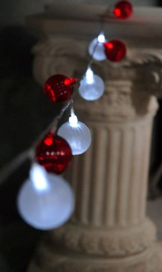 5' Battery Operated LED lights Red & White Balls $10