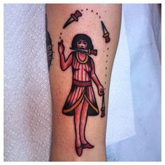 Traditional tattoo. Knife juggler By @Mike Mendes