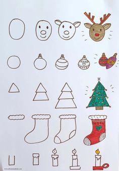 Easy Christmas Drawings, Easy Drawings For Kids, Christmas Doodles, Kids Christmas, Xmas Drawing, Drawing Step, Easy Doodle Art, 242, Theme Noel