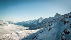 View from the first day of climbing Mont Blanc: Les aiguilles de Chamonix, France Climbing Mont Blanc, Winter Mountain, Mountain Landscape, Landscape Photographers, Mount Everest, Natural Beauty, Earth, France, Mountains