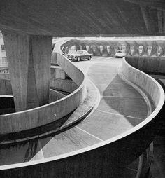 car park  hochhaus zur palme, zurich  haefeli, moser and steiger 1964 photo: walter binder