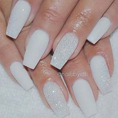 A manicure is a cosmetic elegance therapy for the finger nails and hands. A manicure could deal with just the hands, just the nails, or Fancy Nails, Trendy Nails, Sparkle Acrylic Nails, Acrylic Nail Designs Glitter, Glitter Pedicure, Glitter Acrylics, White Acrylics, Diy Nails, Diamond Nails