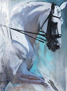 """Grey Shadows and Green"" equestrian art by Sally Martin"