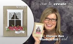 """In today's """"how to"""" video, I'll show you how to make this Flower Box Window card. Created with Stampin Up's Hearth and Home Framelits & Brick Wall impressions folder. Love the lacy curtains. Window Box Flowers, Flower Boxes, Paper Lace Doilies, Window Cards, Stamping Up Cards, Card Making Techniques, Card Tutorials, Video Tutorials, Window Sill"""