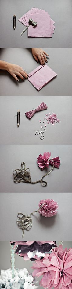 Paper flowers! I remember doing this from kleenex when I was younger. This looks so much better!