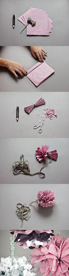 Tissue paper flower balls tutorial