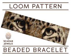 Beaded bracelet pattern featuring leopard eyes. Pattern has been designed for loom beadweaving, however it can also be used for square stitch. Recommended are Miyuki Delica cylindrical beads size 11 due to their quality, and they have been carefully selected from the full collection