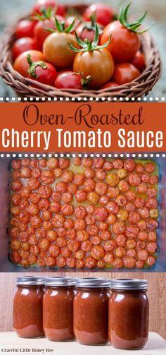 Oven-Roasted Cherry Tomato Sauce (Freezer-Friendly!) Cherry Tomato Pasta Sauce, Oven Roasted Cherry Tomatoes, Canning Cherry Tomatoes, Cherry Tomato Recipes, Roasted Tomato Sauce, Freezing Cherry Tomatoes, Canned Tomato Sauce, Canned Cherry Tomato Salsa Recipe, Easy Tomato Sauce