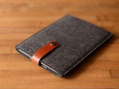 iPad Mini Sleeve Charcoal Felt and Brown Leather by byrdandbelle