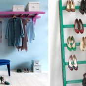 old ladders = handy hanging | Offbeat Home