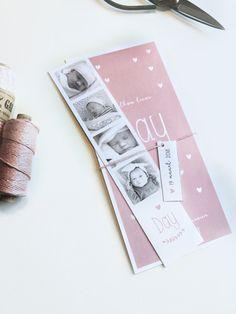 Geboortekaartje met fotostrip | lief roze met hartjes en label voor meisjes