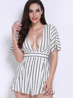 Women Sexy V-neck Striped Short Sleeve Jumpsuit