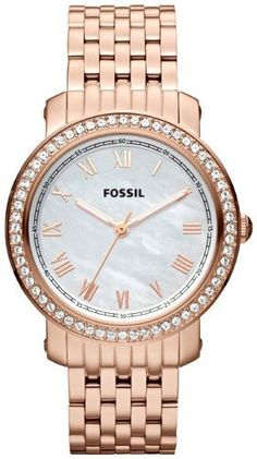 Fossil Emma Stainless Steel Watch - Rose Fossil. $135.78. 50 Meters / 165 Feet / 5 ATM Water Resistant. Mineral Crystal. 38mm Case Diameter. Emma Collection. Quartz Movement. Save 27% Off!