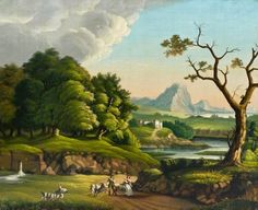 Lot 239- Samuel Finlay Breese Morse (1791-1872 American) Italian Landscape Oil on Canvas 25''x30'' Image. An important work by this artist and inventor who was well known for his creation of Morse code. A colorful depiction of a far reaching Italian landscape with a pair of goatherders in foreground. Housed in carved ornate frame with name plaque. Total framed size 32.25''x37''. Light overall craquelure with some scattered paint flaking.