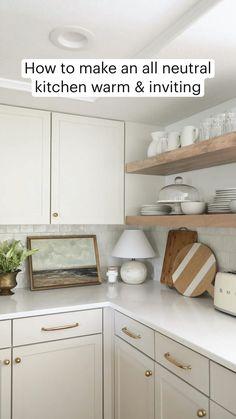 Kitchen Cabinet Drawers, Painting Kitchen Cabinets, Kitchen Shelves, Ivory Kitchen Cabinets, White Countertops, Kitchen Countertops, Modern Farmhouse Kitchens, Home Kitchens, Neutral Kitchen