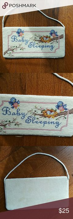 sale! Vintage sleeping baby needlepoint Lovely vintage sign to hang on door or on wall for sleeping baby. Adorable blue birds.  Im attached to this bought and did not have another baby. So precious . Measures 8 x 4 inches Vintage Other