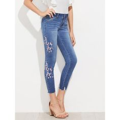a632b1128e To find out about the Cherry Blossom Embroidered Slashed Hem Jeans at SHEIN,  part of our latest Jeans ready to shop online today!