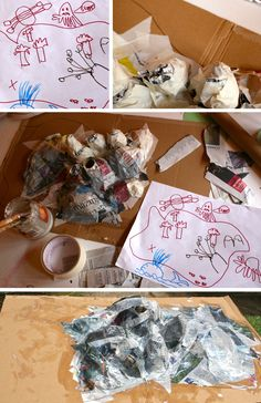 Papier mache story island children's craft project