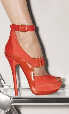 Tangerine Peep Toe Sandals