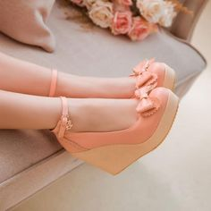 2015 SUMMER FASHION Simply Gorgeous Bow Embellished Pink Wedge sandal Shoes