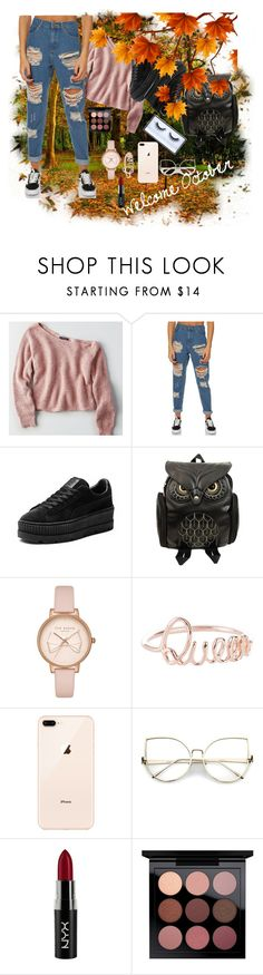 """Welcome October🍁"" by nejla-zejnilovic ❤ liked on Polyvore featuring American Eagle Outfitters, Afends, Puma, Ted Baker, NYX and Huda Beauty"