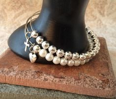 Alex and ani Expandable White Pearl & Silver by GrecoGirlJewelry