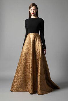 robe de soirée pour mariage, robe avec jupe longue évasée doré et top noir