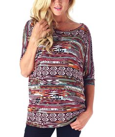 Another great find on #zulily! Magenta Tribal Boatneck Maternity Top by PinkBlush Maternity #zulilyfinds