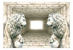 Mystery of Lions Semi-Gloss Paste the Wall Mural Marlow Home Co. Colour: Navajowhite/Burlywood, Size: H x W x D
