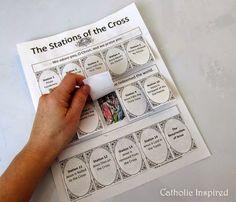 Stations of the Cross ~ Lift-Flap Notebook Page and a Mini Booklet ~ Catholic Inspired Catholic Lent, Catholic Religious Education, Catholic Catechism, Catholic Crafts, Easter Religious, Catholic Religion, Catholic School, Ccd Activities, Religion Activities